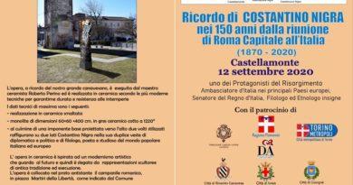 12/9/2020 Innaugurazione Stele in ricordo di Costantino Nigra